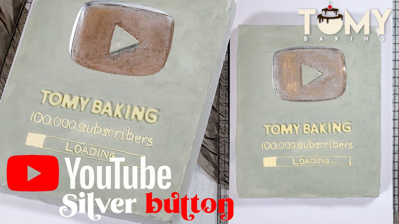 Youtube Silver Button Cake 🤍 || Tomy Baking「ASMR」