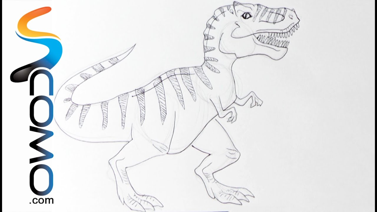 Dibujar un dinosaurio (Tyrannosaurus Rex) - YouTube