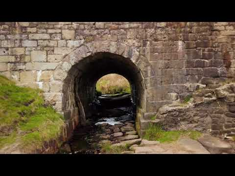 Aerial film of Burbage Bridge in the Peak District.