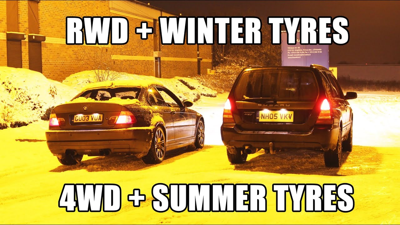 Best Snow Tires >> RWD and winter tyres VS 4WD and summer tyres on snow - YouTube