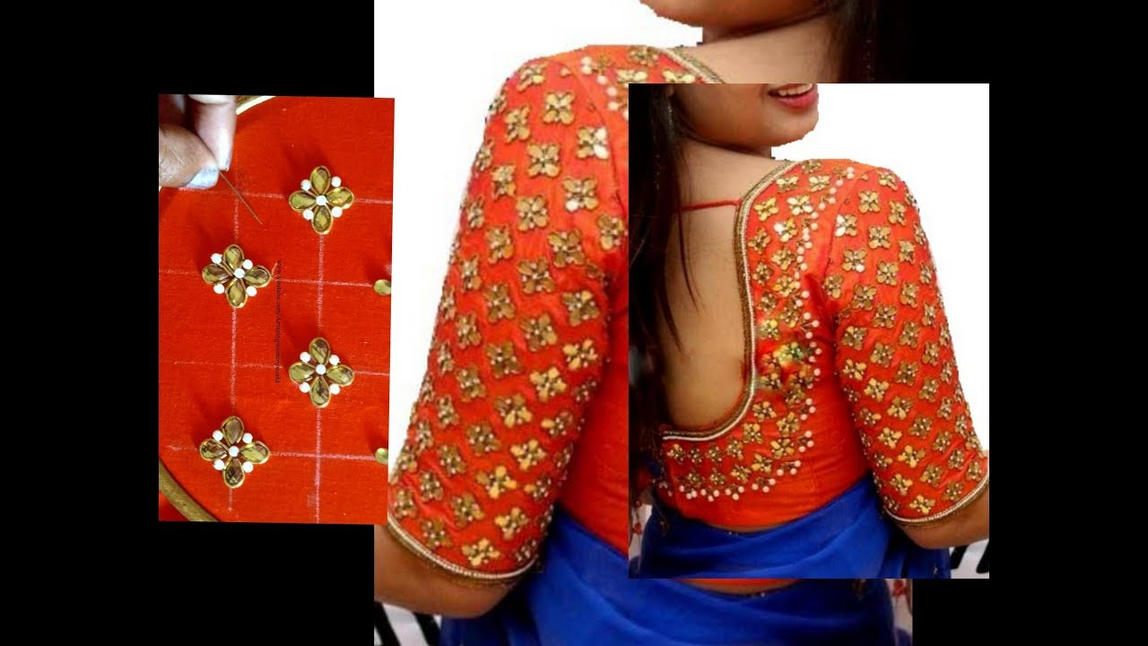 Most Beautiful Kundans Design With Normal Stitching Needle Same
