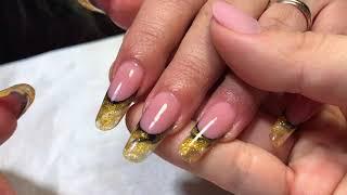 Арт френч; чёрный и золото на ногтях