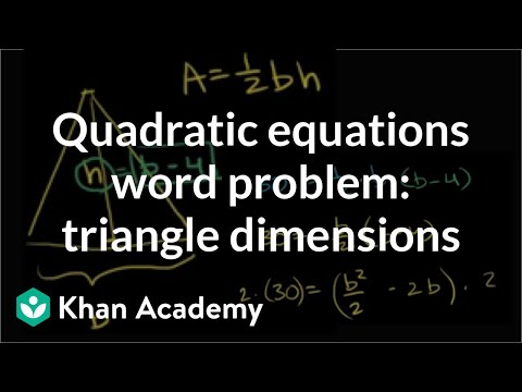 Finding dimensions of triangle from area | Quadratic equatio