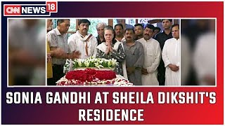 Sonia Gandhi Arrives At Sheila Dikshit's Residence