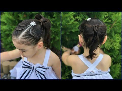 Peinado Corazón con Moño fácil y rápido para niñas|Graduación Primera Comunión| LPH