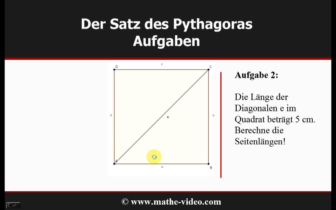 satz des pythagoras beispielaufgaben youtube. Black Bedroom Furniture Sets. Home Design Ideas