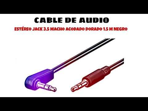 Video de Cable de audio estereo jack 3.5 macho acodado dorado 1.5 M Negro