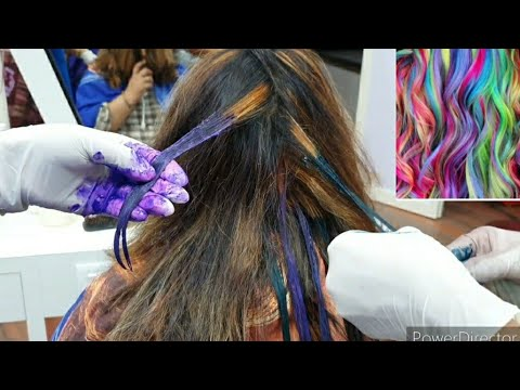 घर बैठे सीखे highlights fashion colour green blue red  how to use fashion colour on your hair