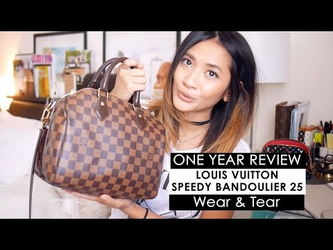 ONE YEAR WEAR & TEAR REVIEW | Louis Vuitton Speedy B 25 + What's in my bag
