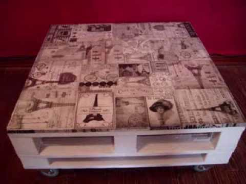 Mesa ratona cuadrada decoupage paris youtube for Mesa de centro de palet