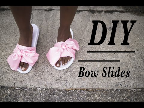 cheap for discount 8606a b7cd0 DIY Rihanna Fenty Puma Bow Slides (NO SEW!)