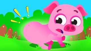 Where is my Piggy Tail? Help this Cute Pink Piggy Bounce Again | Songs by Little Angel