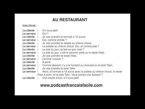 dialogue debutant au restaurant delf A1 - YouTube