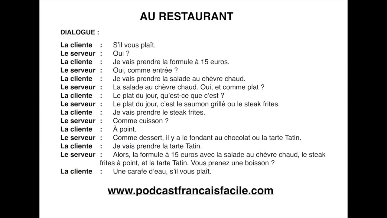 dialogue debutant au restaurant delf a1 youtube