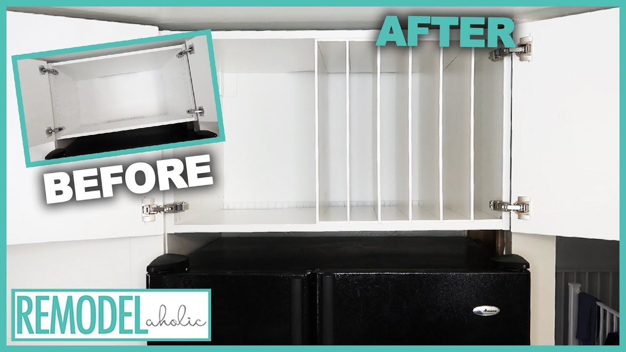 ikea hack diy refrigerator cabinet dividers for better kitchen organization