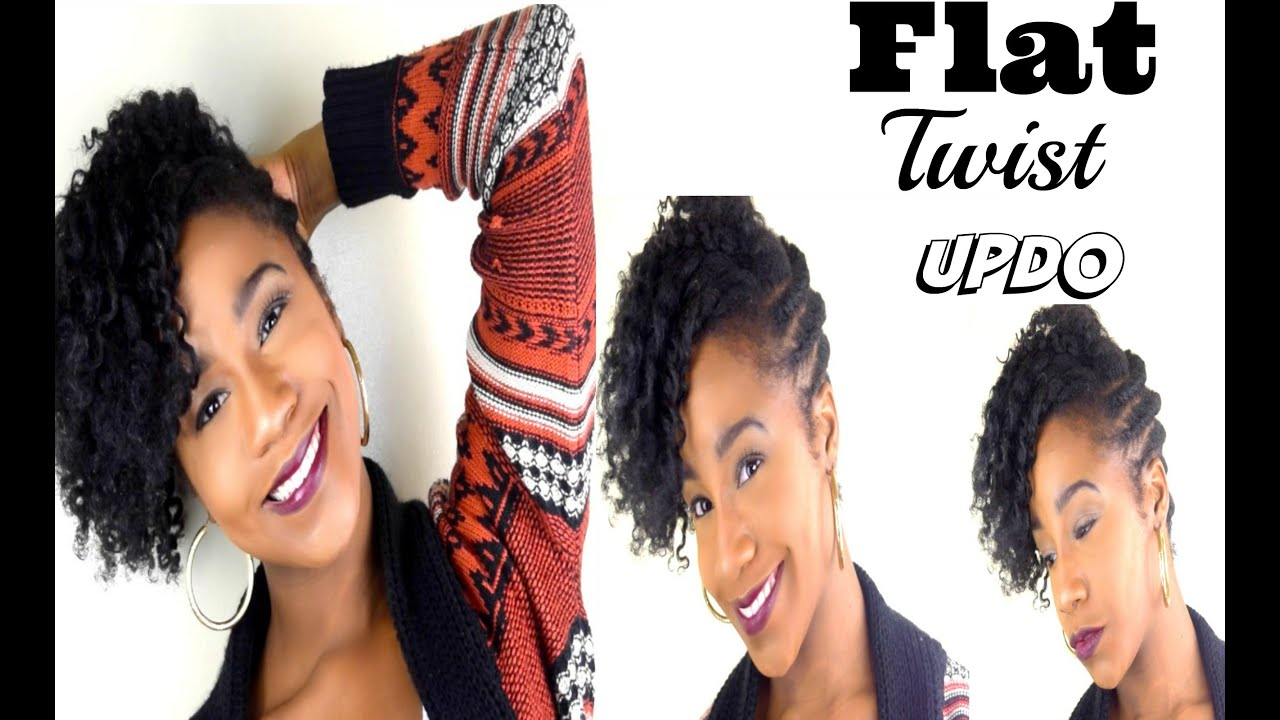 Natural Hair Updo- Flat Twist updo - YouTube