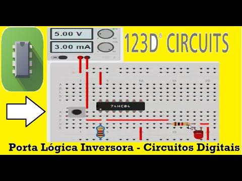 Tutorial 123D Circuits - Porta Lógica Inversora - Autodesk 123D