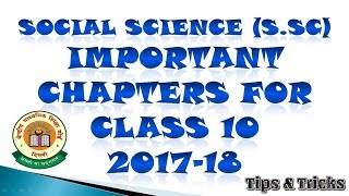 Social Science (S.sc) Important Chapters For Class 10 CBSE 2017-18