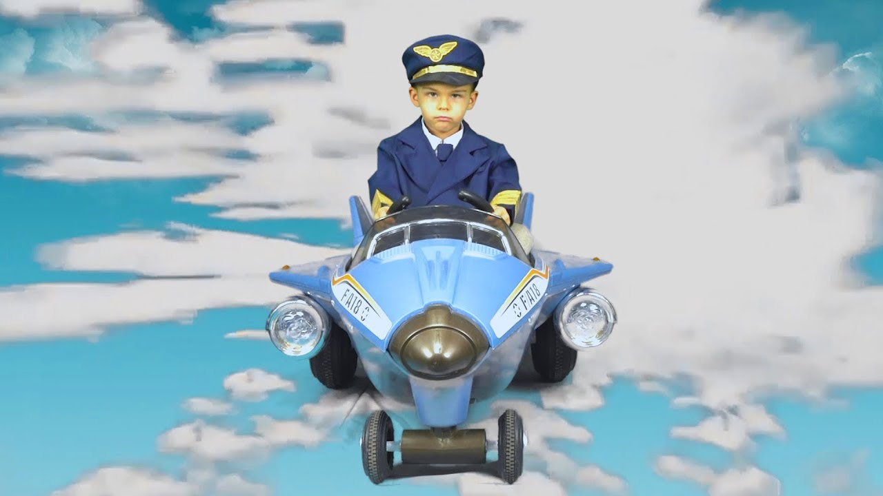 Dima pretend play like a fireman and pilot ride on power wheels plane