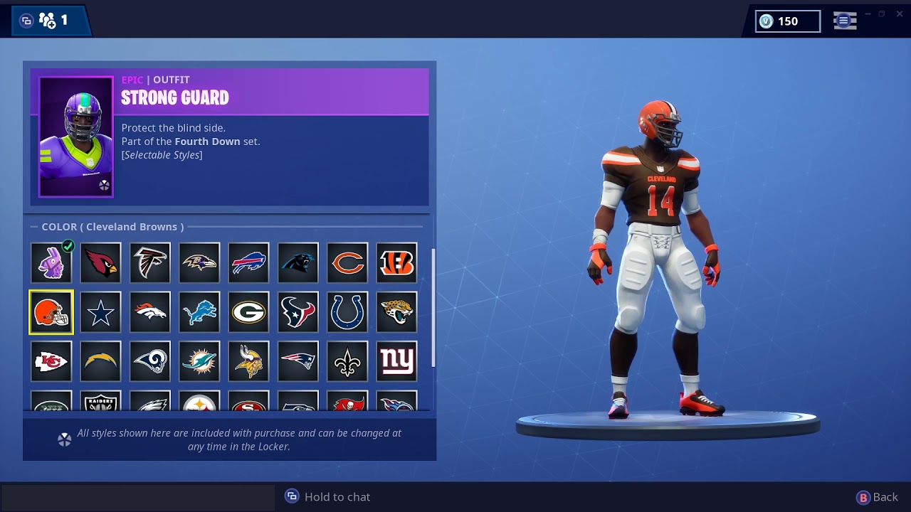 Fortnite With All Weird Colors Fortnite Nfl Skins List Release Date All Skins Pro Game Guides