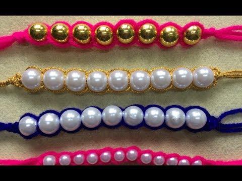 DIY Woollen Craft Idea   Bracelets With Pearls   Rakhi For Rakshabandan