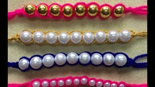 DIY Woollen Craft Idea | Bracelets With Pearls | Rakhi For Rakshabandan
