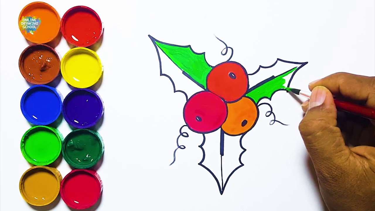 Draw and Paint Holly Christmas Leaf | basic drawings for kids