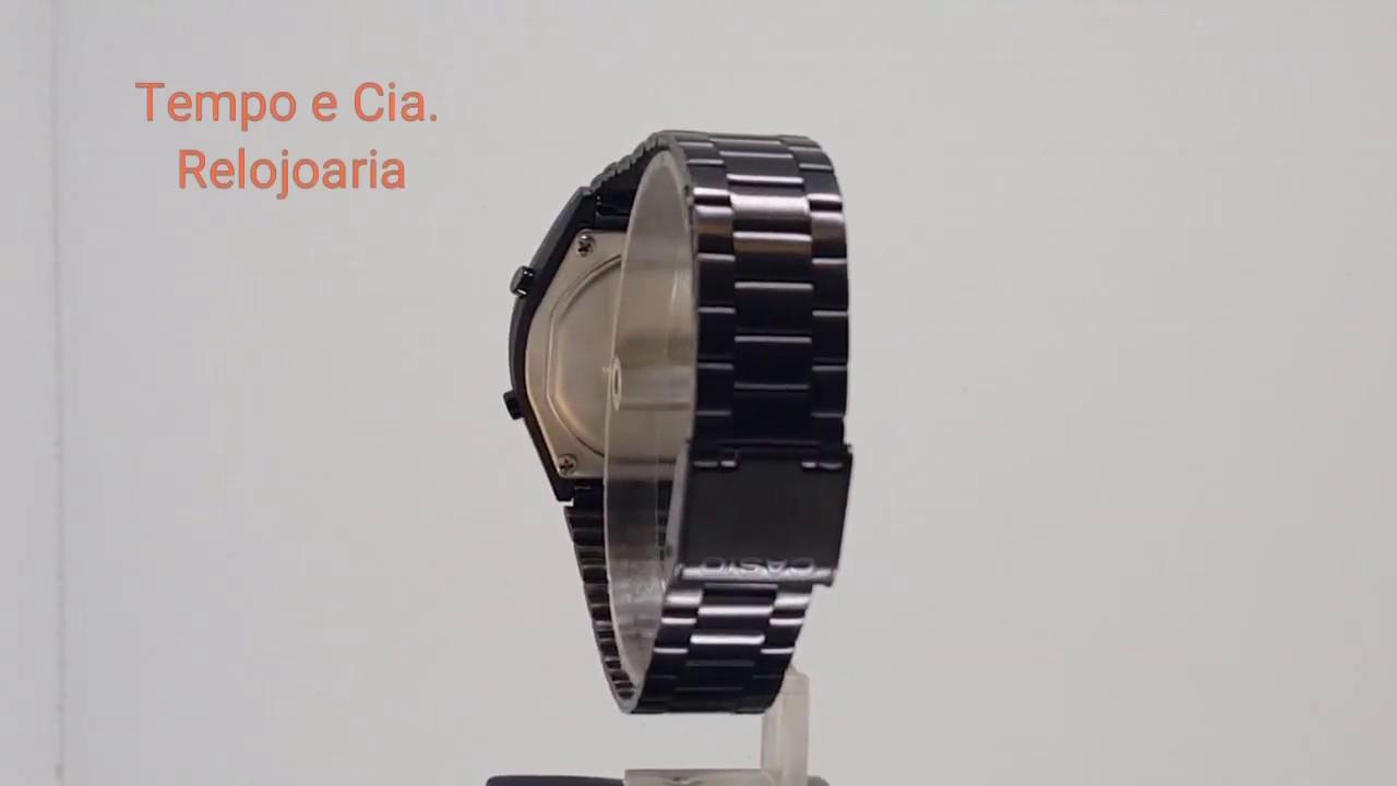 7e8c0eb0e25 Relógio Casio Digital Aço Preto retrô vintage B640WB-1ADF - YouTube
