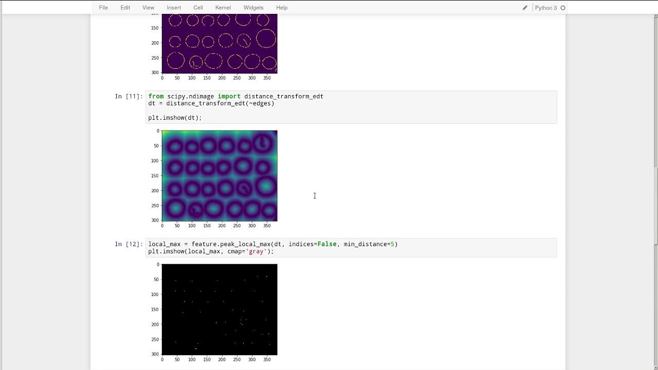 scikit-image: segmentation and regionprops
