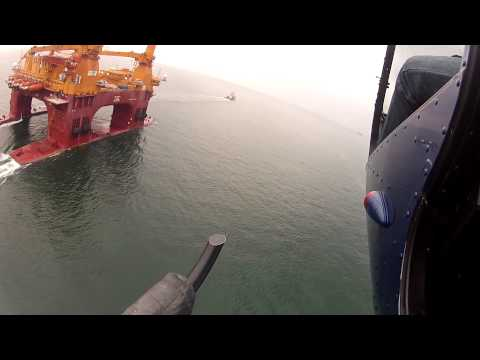 Chasing Gretha, the Giant maintenance rig in a R44 helicopter. View from our x2 GoPro2.