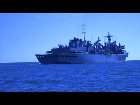 Navy Ship off the Virginia Beach coast.