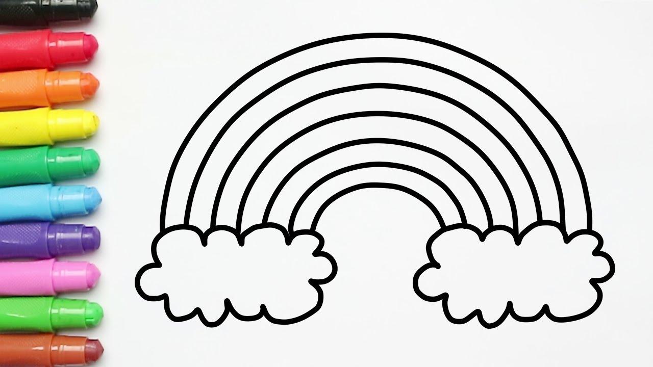 Menggambar dan Mewarnai Pelangi dengan Crayon