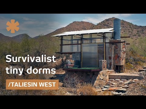 Survivalist tiny dorms at Frank Lloyd Wright's Taliesin arch