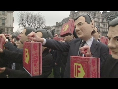 George Osborne dummy protest demands action on tax and hunger