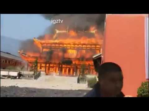 the pagoda temple in china is on fire