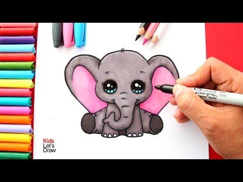 Aprende a dibujar un ELEFANTE KAWAII Bebé (Dumbo) | How to Draw a Cute Elephant