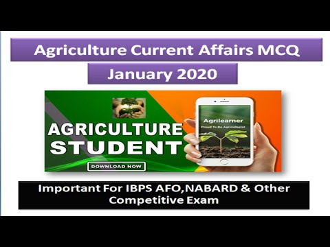 Agriculture current affair january 2020 Important For AFO , NABARD & Other Competative Exam