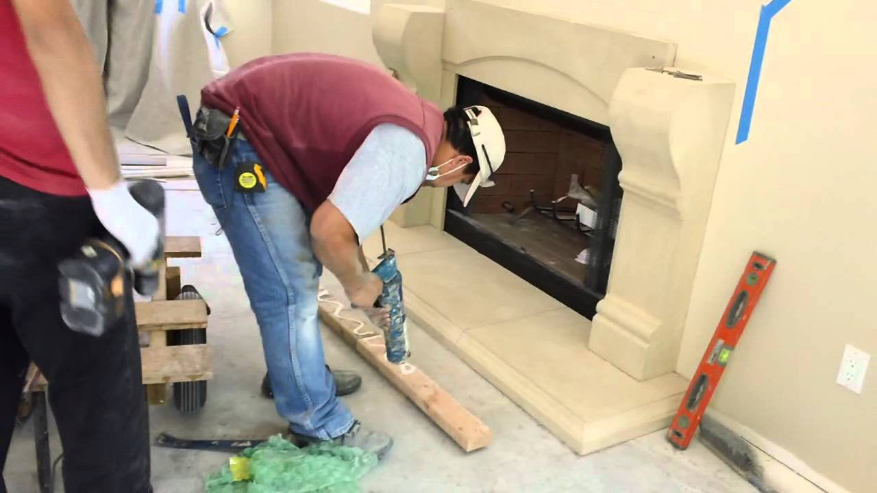 How to Install a Cast Stone Fireplace Mantels over a Prefab ...