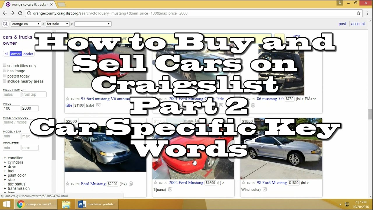 how to buy sell cars on craigslist part 2 car keywords youtube. Black Bedroom Furniture Sets. Home Design Ideas