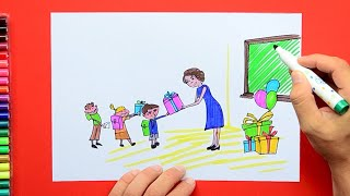 How to draw and color Teacher