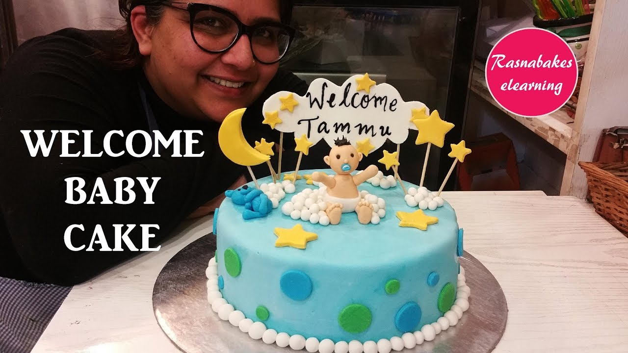 How To Make Easy Welcome Baby Or Baby Shower Cake Design For Boy Girl Decorating Ideas Youtube