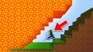 IMPOSSIBLE LAVA RUN in Minecraft Pocket Edition (Floor is LAVA ESCAPE)