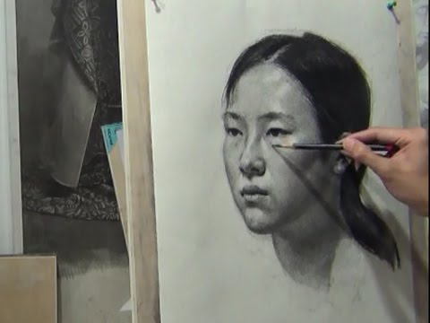 Drawing a Portrait of Girl in Charcoal Pencil