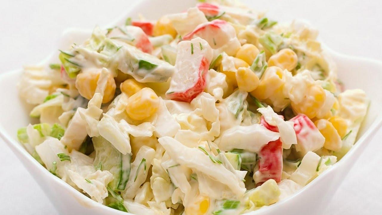 крабовый салат рецепт с капустой и кукурузой