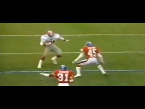 1982 Falcons at Broncos - William Andrews 86 yard TD swing pass.