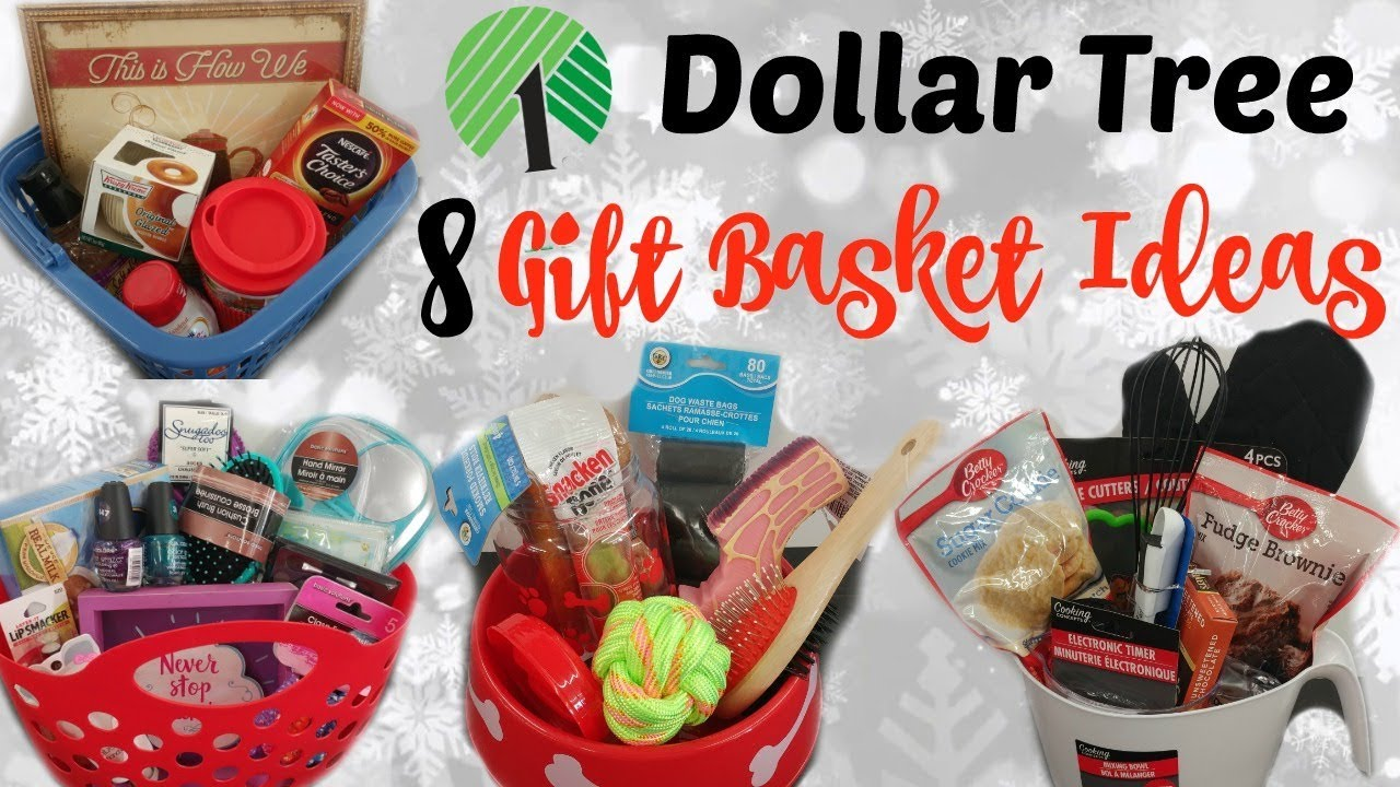 8 DOLLAR TREE GIFT BASKETS/ QUICK & EASY - YouTube