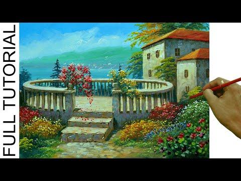 Acrylic Landscape Painting TUTORIAL / Sunny Day on Italian Villa and Flower Garden / JMLisondra