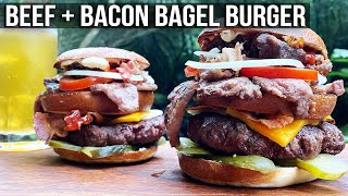 Beef Bacon Bagel Burger by the BBQ Pit Boys