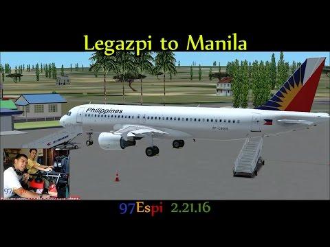 FSX Flight Legazpi to Manila 02.21.16 #1 Philippine Airlines A320