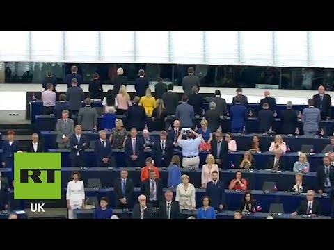 Brexit Party MEPs turn their backs during EU nation anthem at European Parliament
